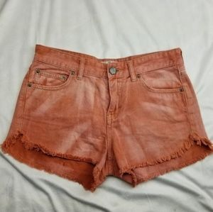 Free People Orange Jean Short Shorts size w26